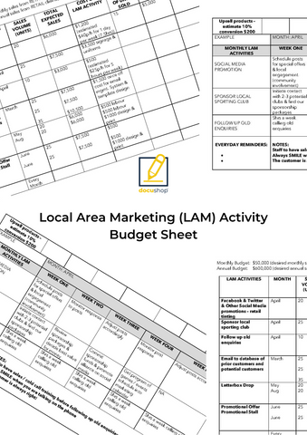 Local Area Marketing (LAM) Activity Budget Sheet Template