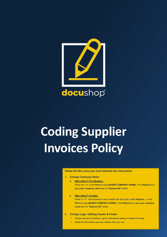 Coding Supplier Invoices Policy
