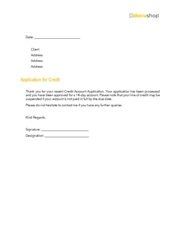 Credit Account Approval Letter