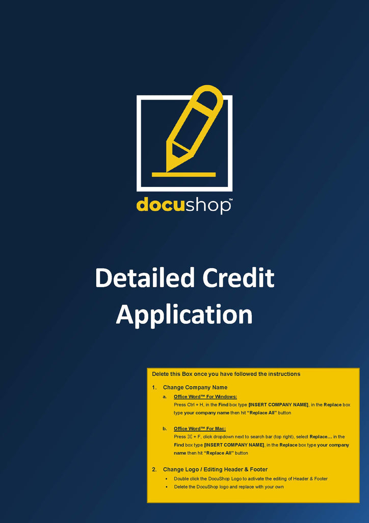 Detailed Credit Application