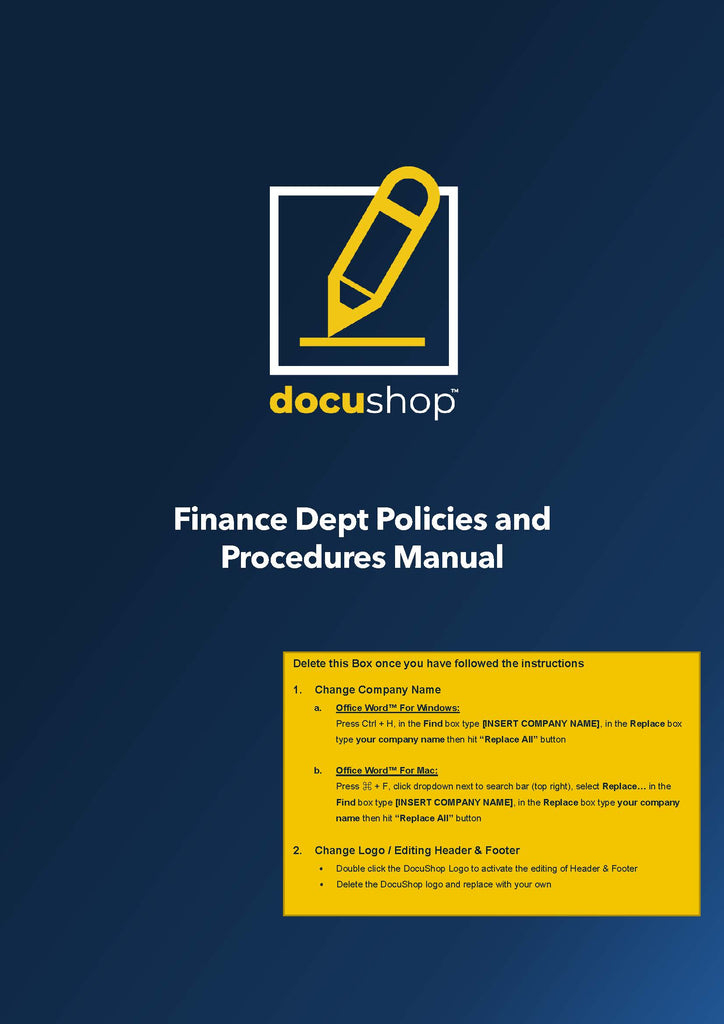 Finance Dept Policies & Procedures Manual