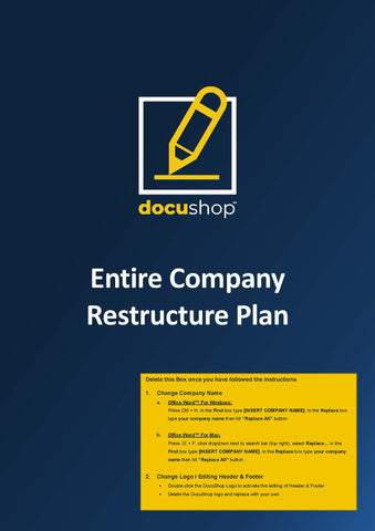 Entire Company Restructure Plan Template