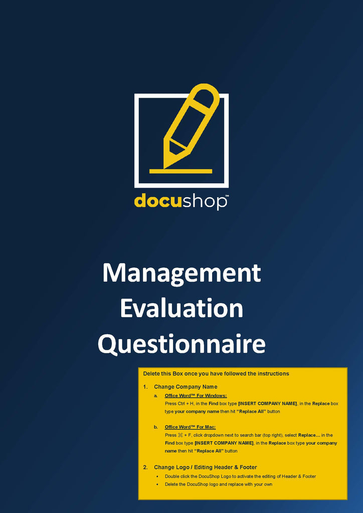 Management Evaluation Questionnaire Template