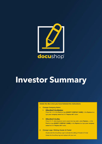 Investor Executive Summary Mobile App Template