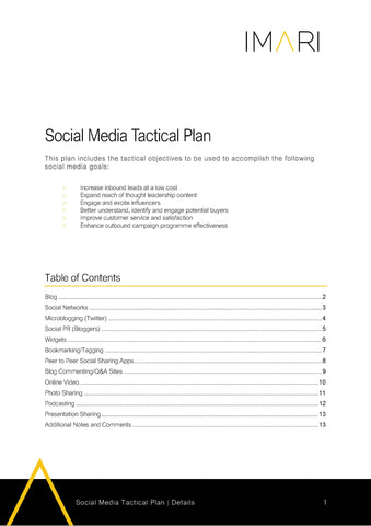 Social Media Tactical Plan