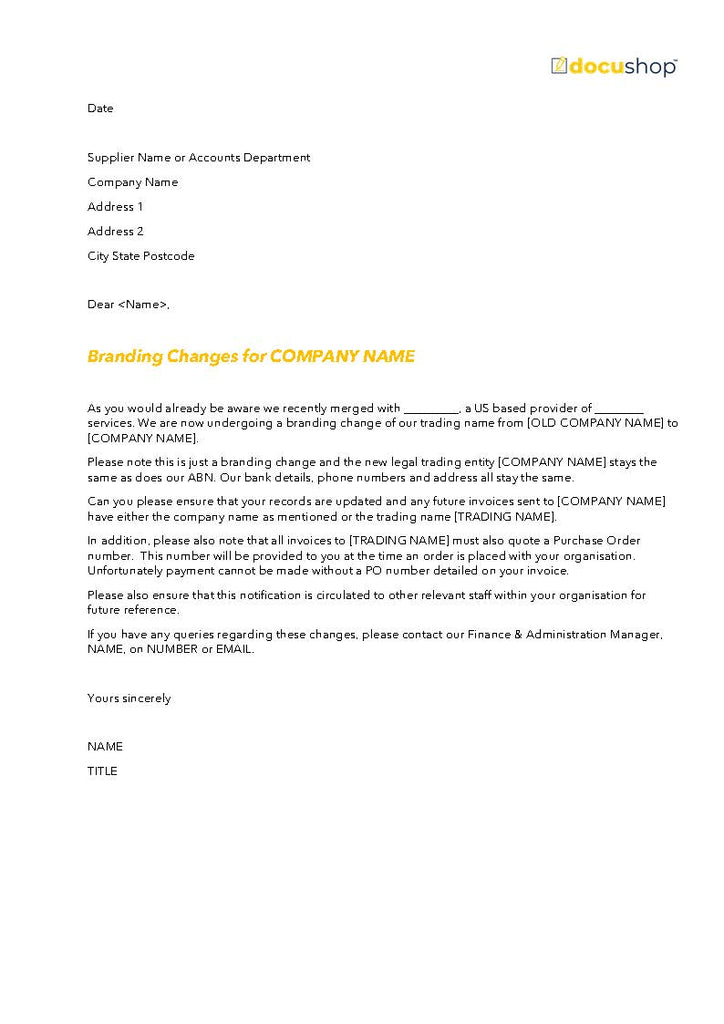 Branding Name Change Letter to Clients Template
