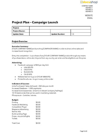 Marketing Campaign Project Launch Plan Template