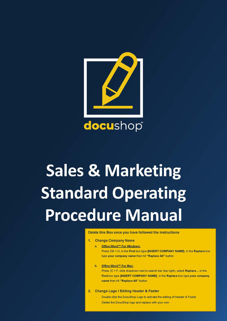 Sales & Marketing Standard Operating Procedure Manual (SOP)