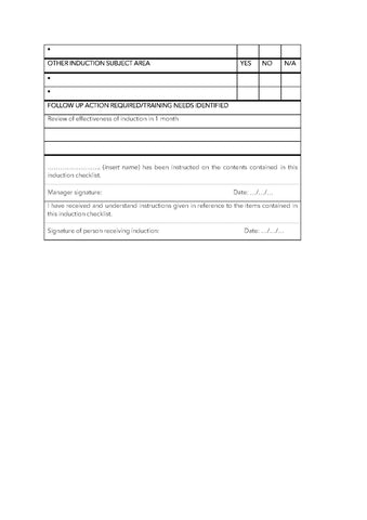 OSH Induction Checklist Template