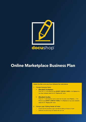Online Marketplace Business Plan Template