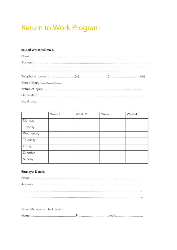 Return to Work Program Template
