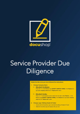 Service Provider Due Diligence Template