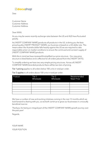 Supplier Price Increase Letter Template