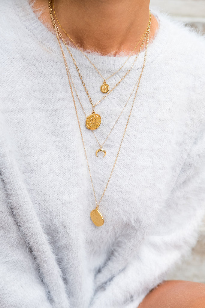 Ares Gold Coin Pendant Layering Necklace - KOOKII B