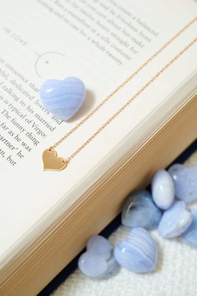 Blue Lace Agate Heart XS
