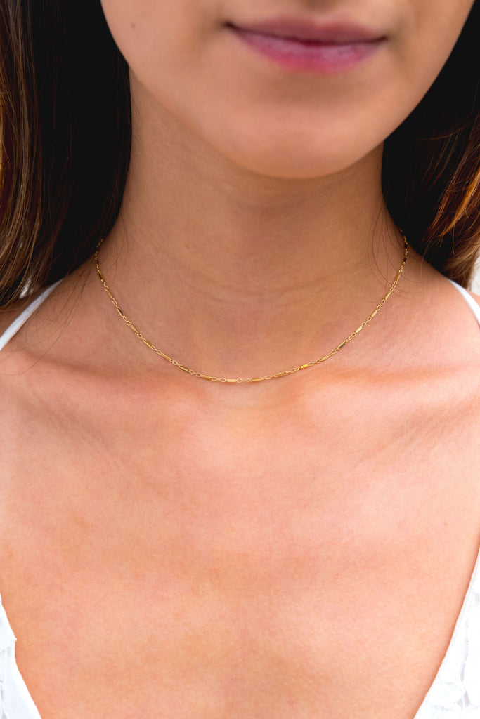 Lucia bar link choker necklace - KOOKII B