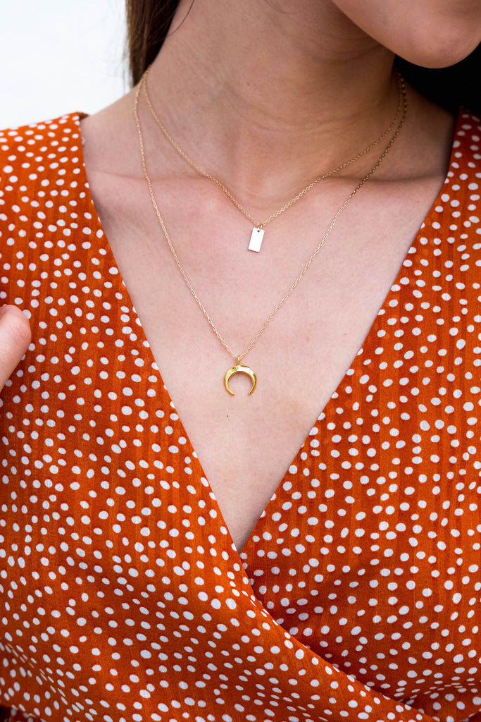 Alyssa II moon crescent horn gold necklace - KOOKII B