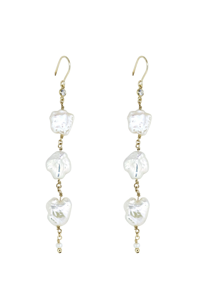 Ceris Trio Pearl Flake Drop Earrings - KOOKII B