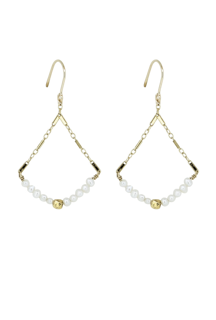Louve Pearl Marquis Diamond Earrings - KOOKII B
