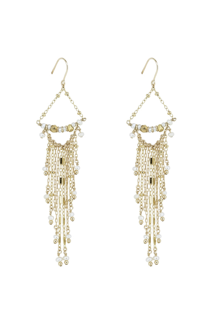 Indah Pearl Waterfall Tassel Earrings - KOOKII B