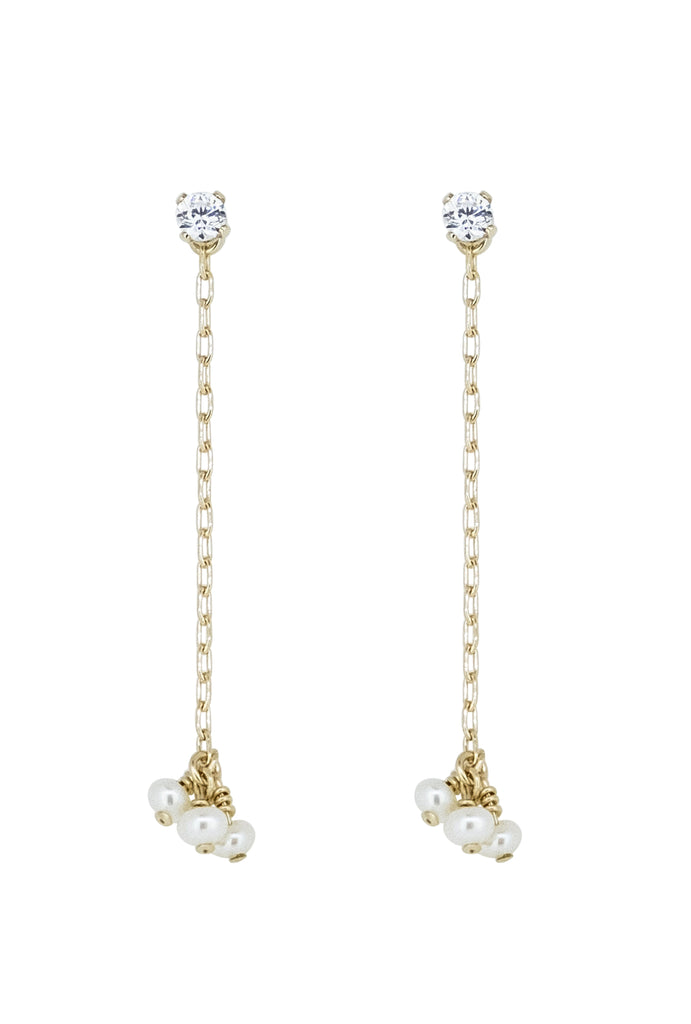 Maraya Crystal stud drop pearl trio earrings - KOOKII B