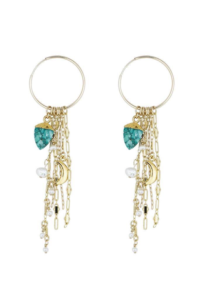 Maia Turquoise Moon Endless Hoop Fringe Earrings - KOOKII B