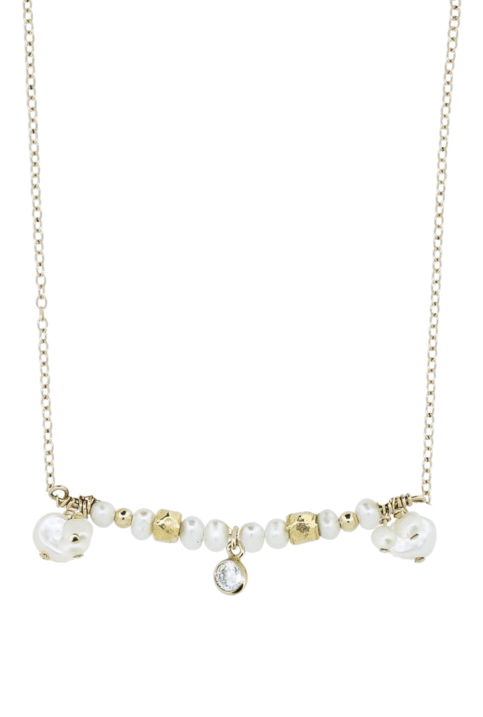 Lestari Beaded Cluster Pearl Bar Necklace - KOOKII B