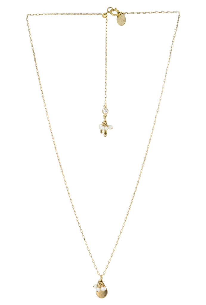 Nienna Trio Pearl Droplets Teardrop Necklace - KOOKII B