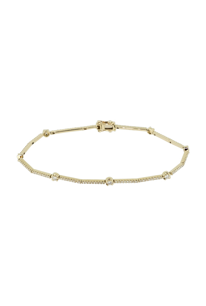 Hera Infinity Diamond Bar Gold Bracelet - KOOKII B