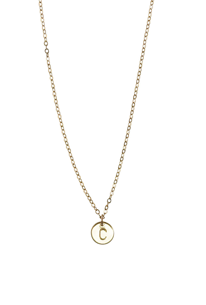 Lorraine initial gold disc necklace - KOOKII B