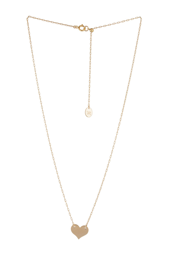 Louvelle Heart Engravable Gold Necklace - KOOKII B