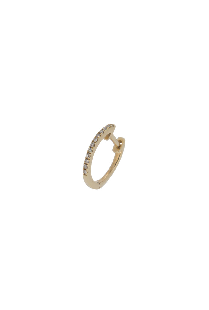 Lunette midi round diamond huggie yellow gold earring - KOOKII B