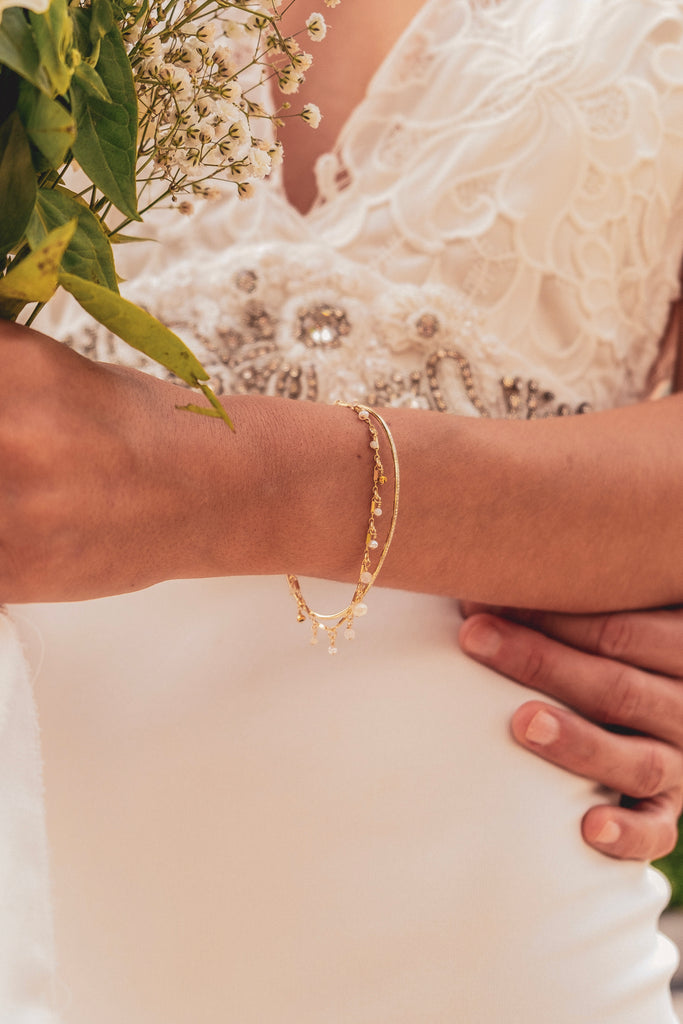 Aurora Skinny Diamond Gold Cuff Bangle - KOOKII B