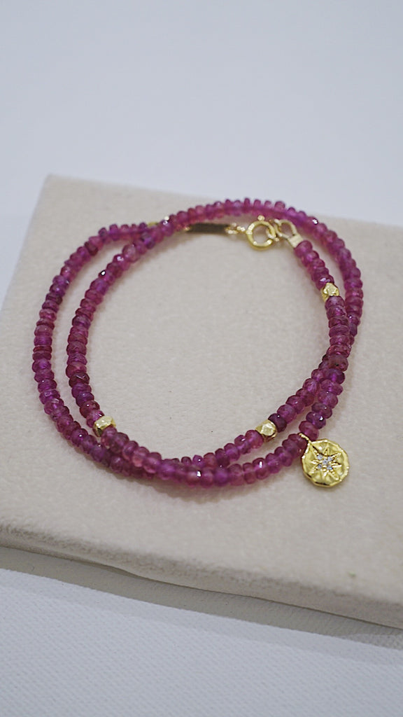 Petra Ruby beaded double wrap bracelet - KOOKII B