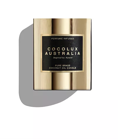 Cocolux Luna Gold Brass Candle - Palm Leaf and Bamboo