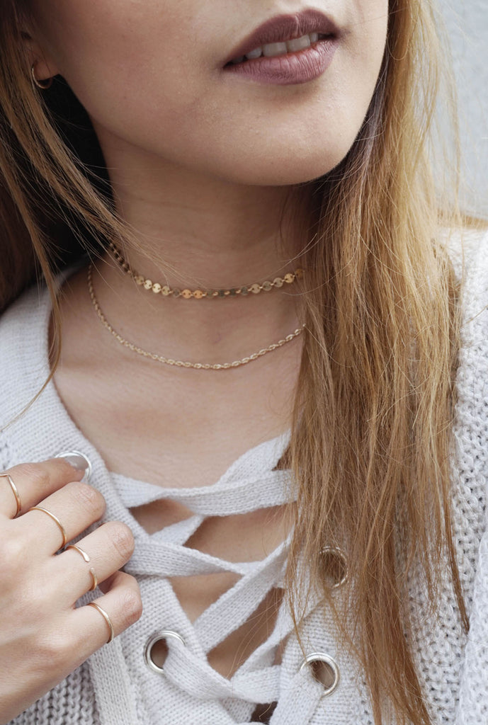 Taylor infinite circle disc gold chain choker - KOOKII B