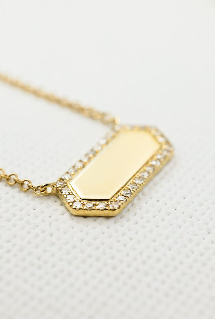 Vega hex diamond plaque necklace