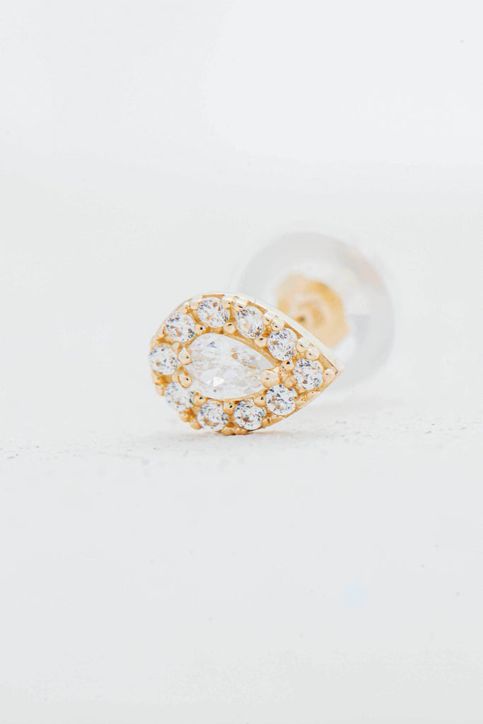 Amberly crystal teardrop gold stud earring