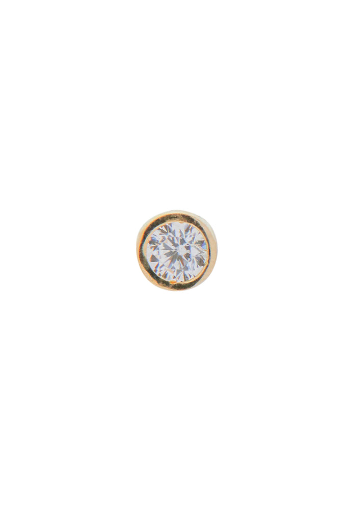 Arelis single solitaire gold stud earring