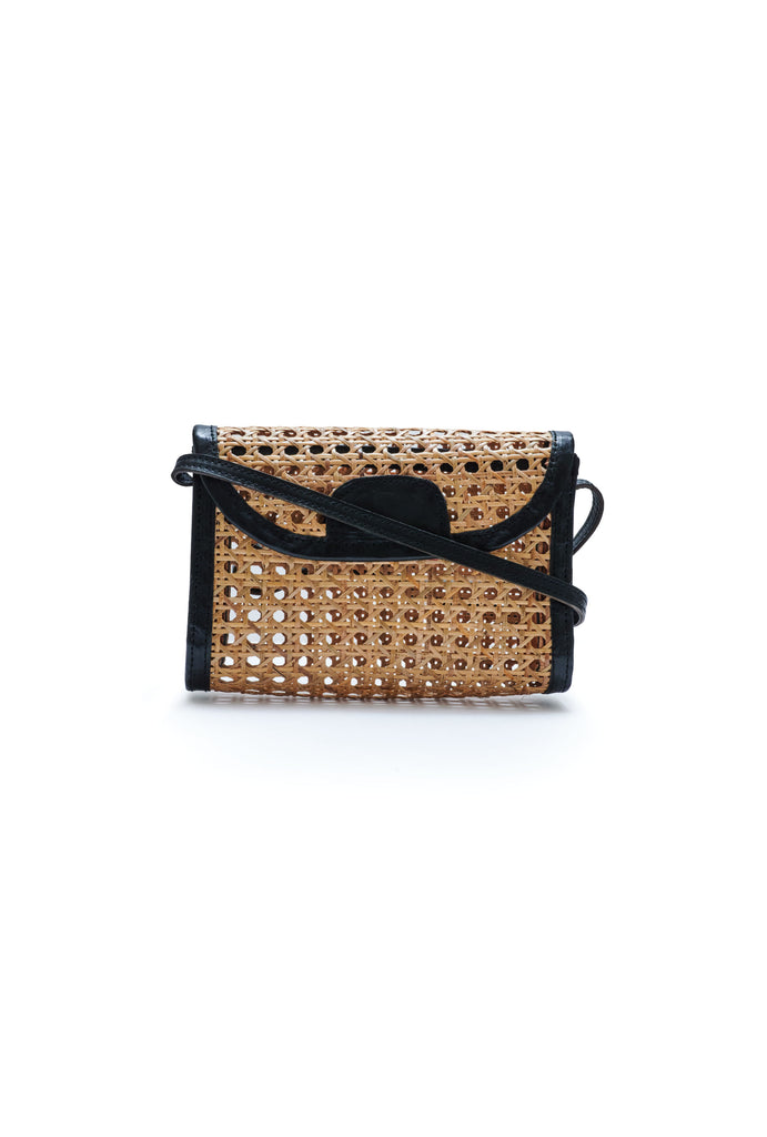 Woven Straw Leather Crossbody Pochette - Black
