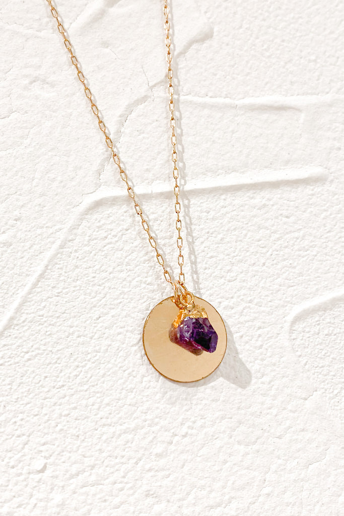 Darling Amethyst Engravable Pendant Necklace