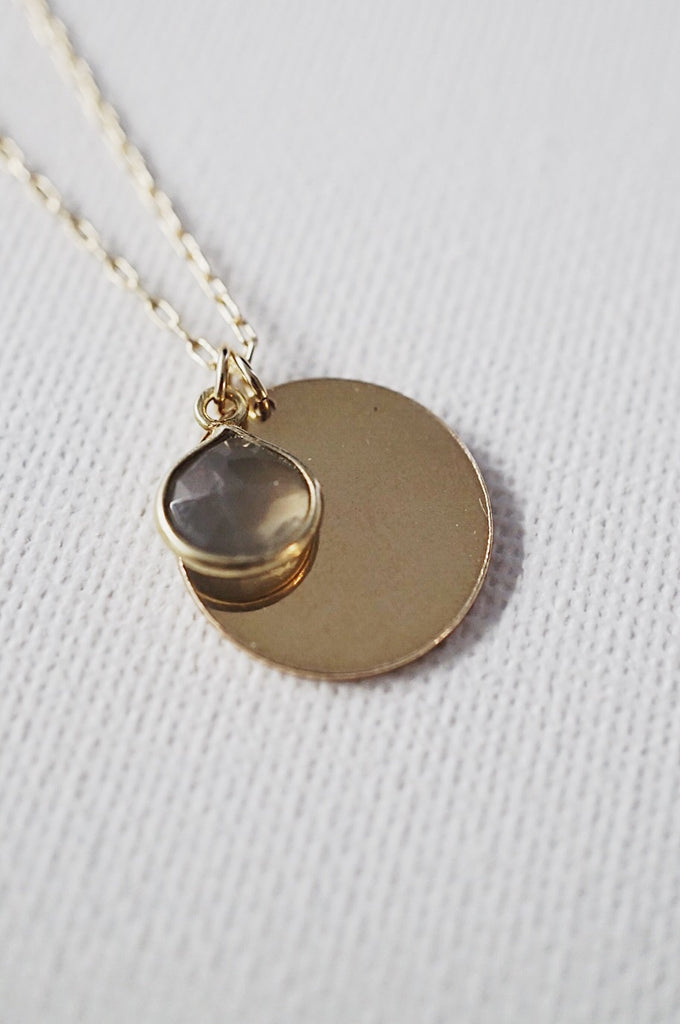 Darling Labradorite Engravable Pendant Necklace - KOOKII B
