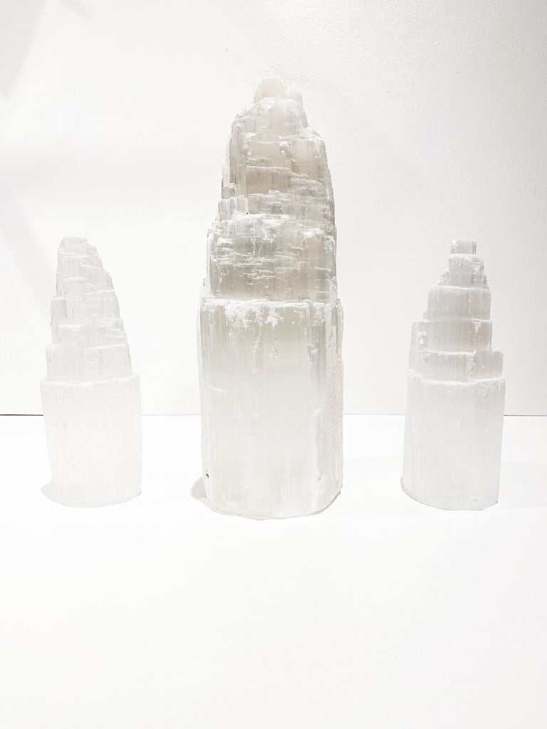 Raw Selenite Skyscraper Tower 150mm