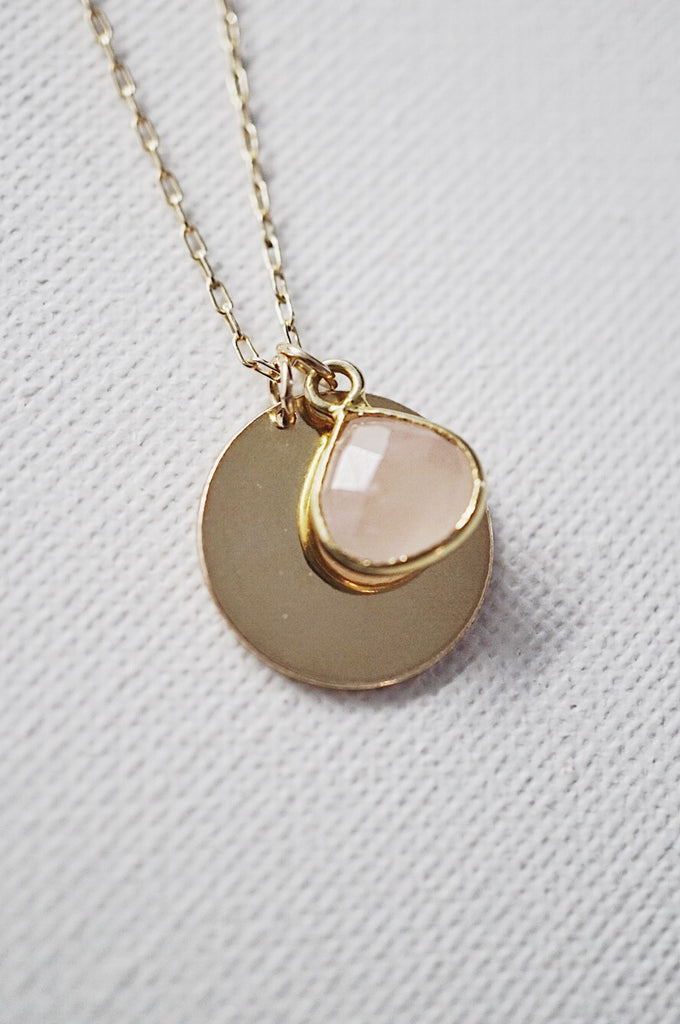 Darling Rose Quartz Engravable Pendant Necklace - KOOKII B
