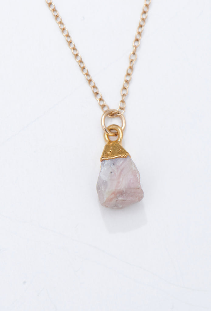 Salize pink opal rock chip drop necklace