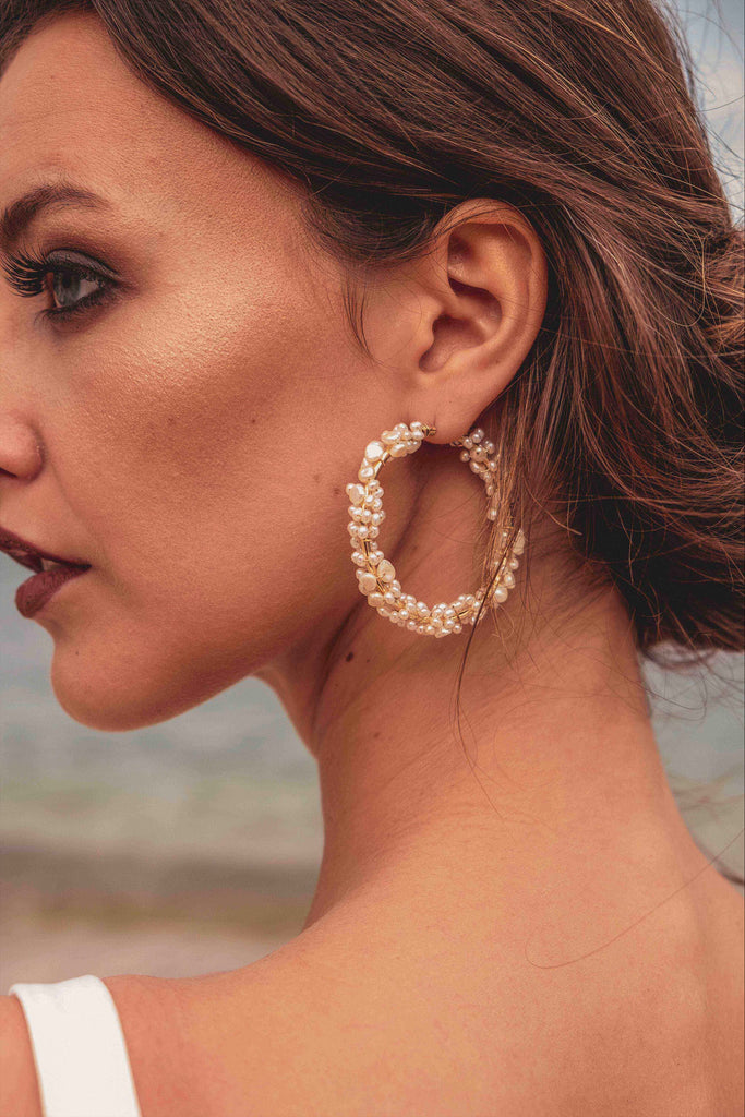 Seren Cluster Round Hoop Earrings - KOOKII B