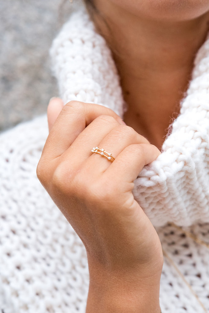 Iris pearl and diamond ring - US6 - KOOKII B