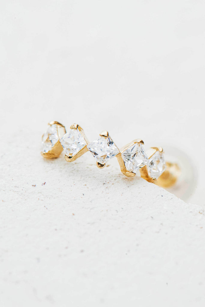 Kimi semi hoop gold crystal earring