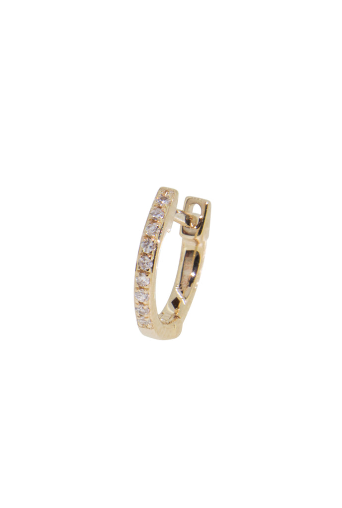 Lunette mini round diamond huggie earring