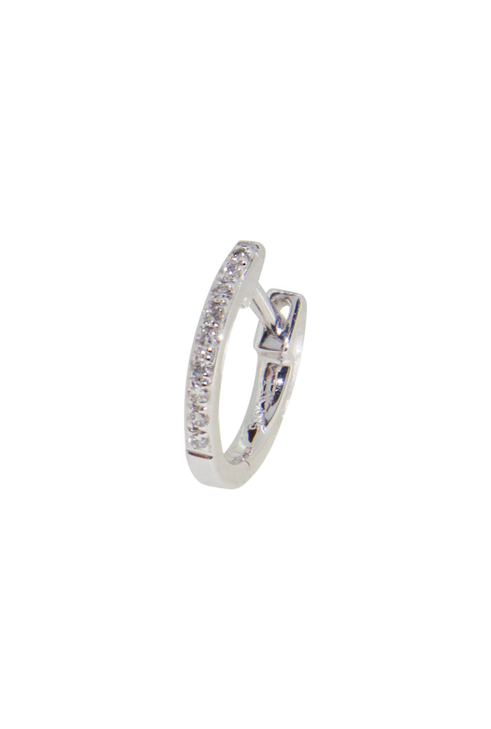 Lunette mini round diamond huggie white gold earring